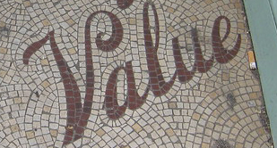 """The word """"Value"""" in a ceramic mosaic"""